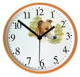 Keramik Hund Uhr Greyhound-Basset Orange Rand, Quarzuhr