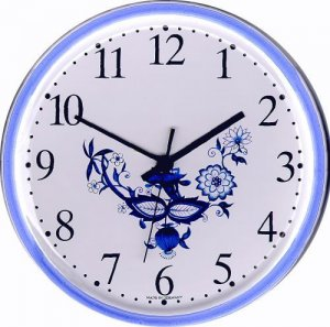 Evit Uhren Keramik Wanduhr Rund Zwiebeldekor Groß Blaurand